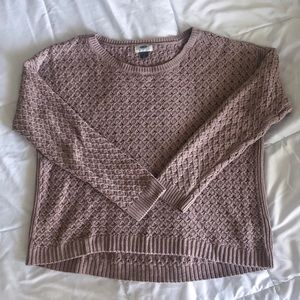 Old Navy Semi-crop knitted mauve sweater